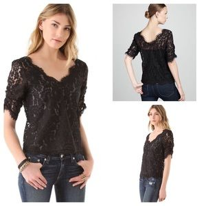 Joie Lace Ruched Sleeve Top